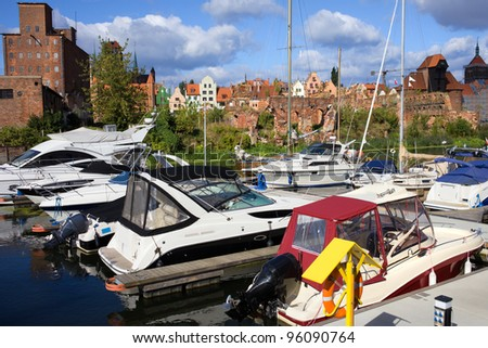 Motorboats and sailboats at the marina in the city of Gdansk in Poland