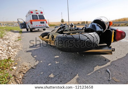 motorcycle accident - stock photo