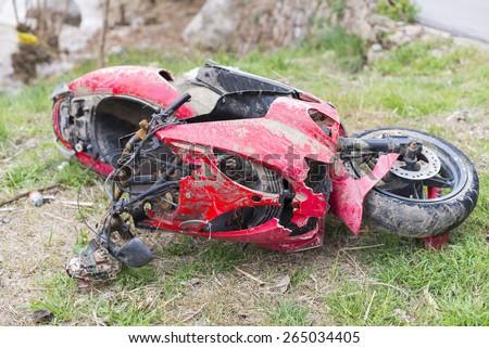 Motorcycle accident. - stock photo