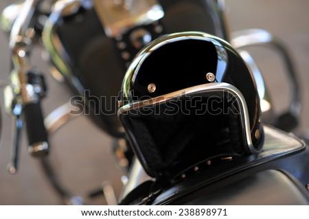 Motorcycle and helmet - stock photo