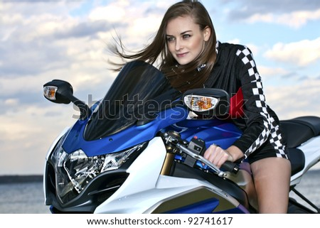 Motorcycle Babe - stock photo