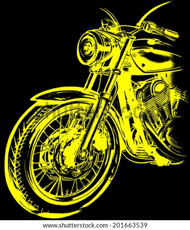 Motorcycle, bike, a hand-painted in the style of grunge. Graphic drawing, sketch on a black background
