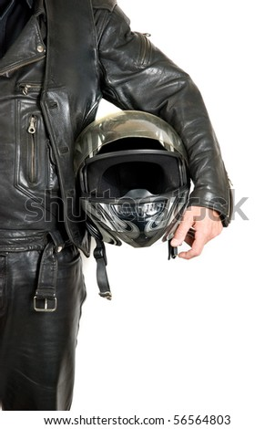 motorcycle biker with helmet closeup on a white