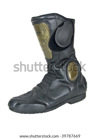 Motorcycle boot on white background - stock photo