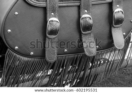 Motorcycle Brown Leather Saddle Bags and Fringe Black and White