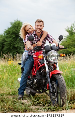 Motorcycle Couple - stock photo