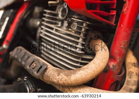motorcycle engine and manifold - stock photo