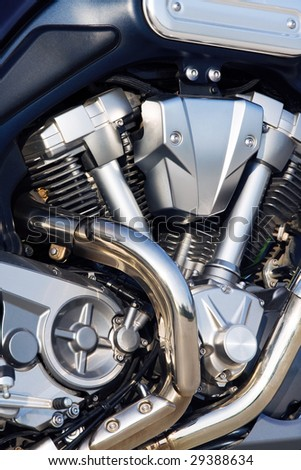 Motorcycle engine close-up - stock photo
