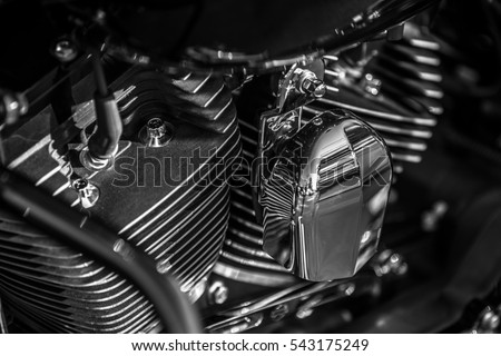 Motorcycle engine close up shot