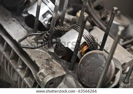 Motorcycle engine closeup - stock photo