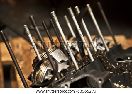 Motorcycle engine closeup - stock photo