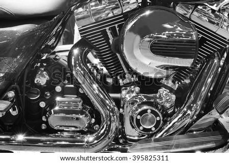 Motorcycle engine,detail of motorcycle engine,Black and white.