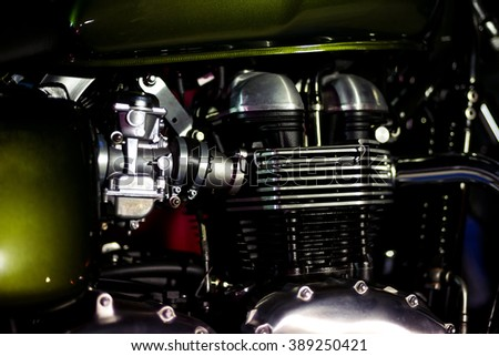 Motorcycle engine, metalic background with with green details