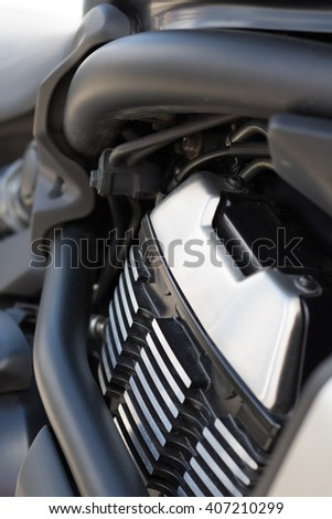 Motorcycle engine with matte black frame