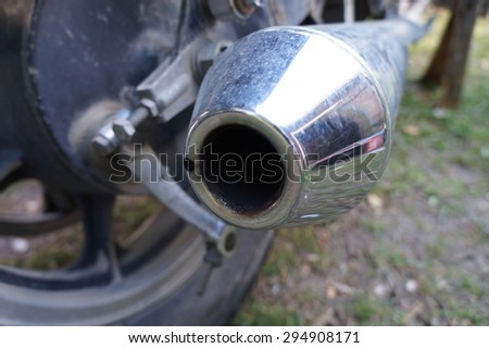 Motorcycle exhaust pipe tip closeup