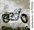 Motorcycle Grunge, Background grunge with an illustration of a generic motorbike. - stock photo