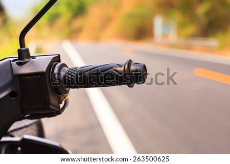 Motorcycle handle - stock photo