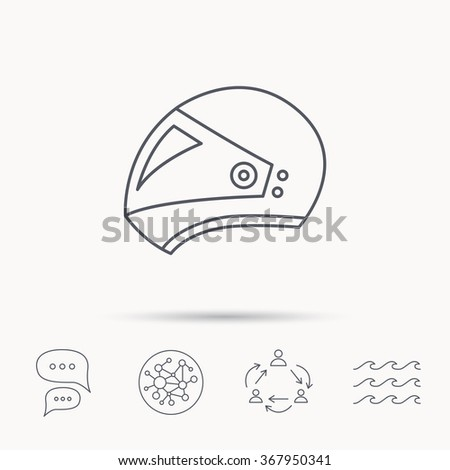 Motorcycle helmet icon. Biking sport sign. Global connect network, ocean wave and chat dialog icons. Teamwork symbol. - stock photo