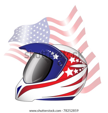 Motorcycle helmet with red, white and blue 'Stars and Stripes' theme against American flag. Also available in vector format.
