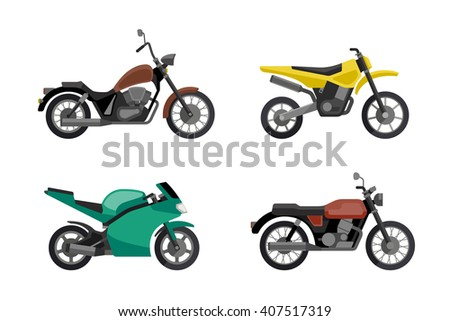 Motorcycle icons set in flat style. Simple illustrations of different type motorcycles. Raster version. - stock photo