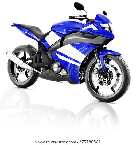 Motorcycle Motorbike Bike Riding Rider Contemporary Blue Concept - stock photo