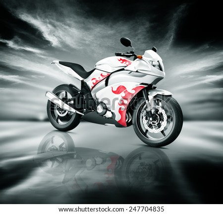 Motorcycle Motorbike Bike Riding Rider Contemporary White Concept - stock photo
