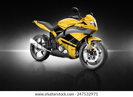 Motorcycle Motorbike Bike Riding Rider Contemporary Yellow Concept - stock photo