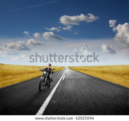 motorcycle on the street - stock photo