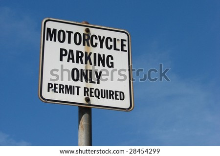 Motorcycle parking sign - stock photo