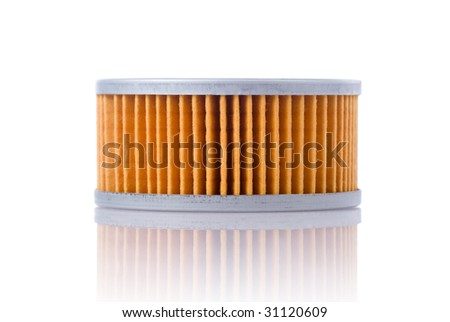 motorcycle parts: oil filter, isolated on white - stock photo