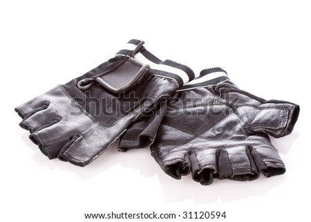 motorcycle protective wear: black short gloves, isolated on white