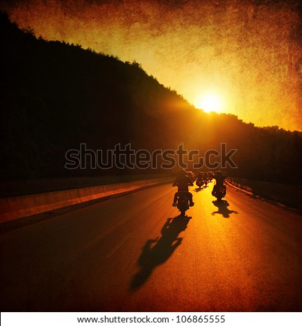 Motorcycle ride, people driving motorbikes, large group of bikers on the summer ride parade, moving on sunset street, summer travel, road trip, freedom lifestyle - stock photo