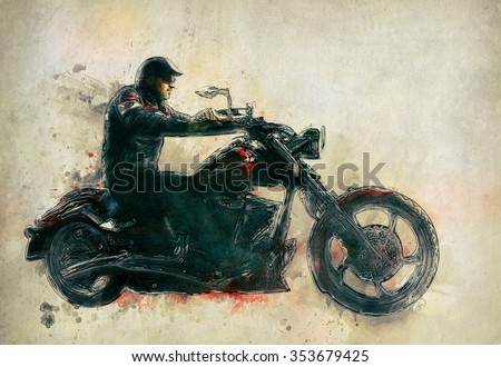 Motorcycle Rider on old paper - stock photo