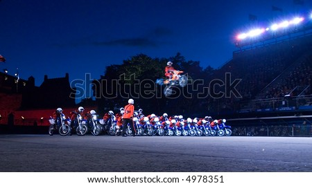Motorcycle stunt team at the Edinburgh Military Tattoo 2007 - stock photo