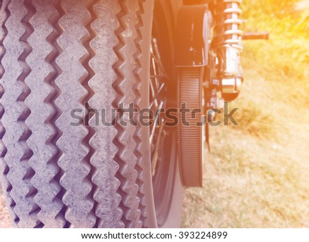 motorcycle tire with gradient - stock photo