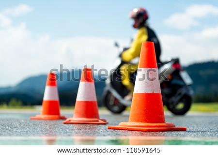 Motorcycle training school Motorcycle education school training - stock photo