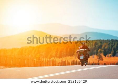 motorcycle travel - stock photo