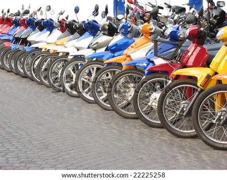Motorcycles in line in a shop. Location: Rosario city, Argentina - stock photo