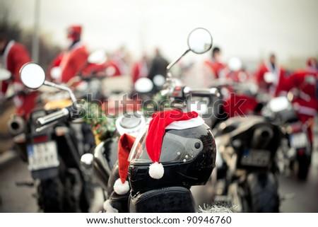 Motorcycles of Santa Claus. - stock photo