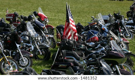 Motorcycles parked on the grass after the Rolling Thunder motorcycle parade in Washington DC