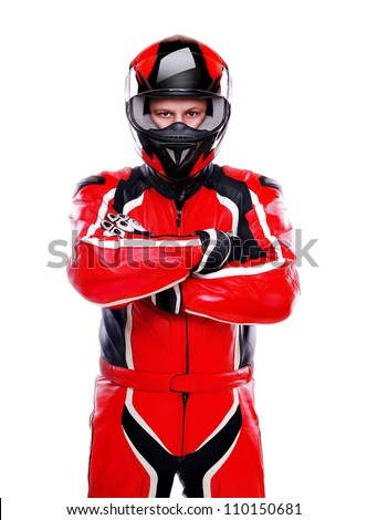 Motorcyclist biker in red equipment on white background - stock photo
