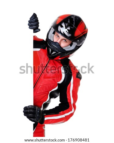 motorcyclist holding vertical blank - stock photo