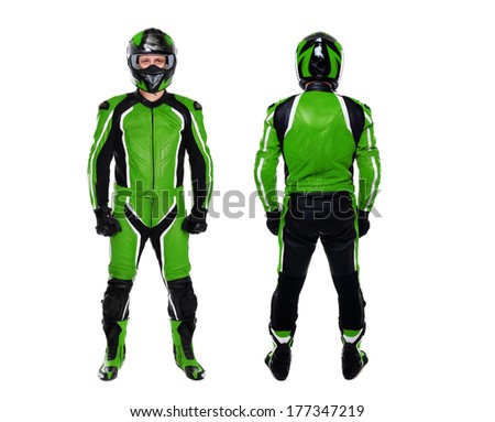 motorcyclist in green both sides view on white background - stock photo