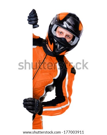 motorcyclist in orange equipment holding vertical blank - stock photo