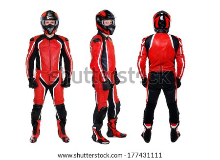 motorcyclist three sides view on white background - stock photo