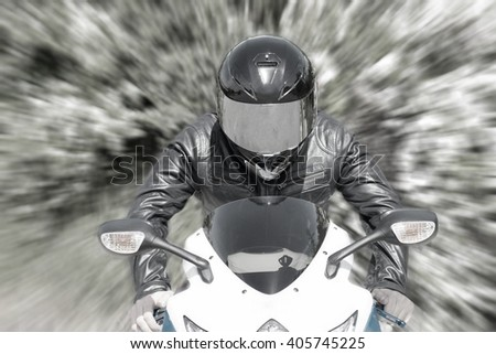 Motorcyclist With Helmet In Black Riding His Super Sport Motorcycle. Speed  Motion.