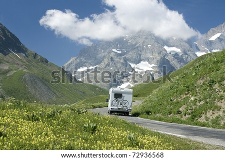 Motorhome in the French alps - stock photo