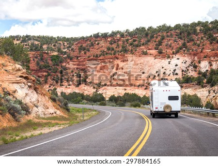 Motorhome on the road to Bryce canyon, modern trailer - stock photo