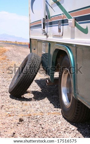 Motorhome RV Flat in Desert - stock photo