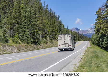 Motorhome traveling on a road in Jasper National Park - Alberta, Canada